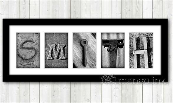 Mango Ink word frame letter art